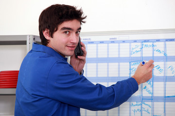 Man booking an appointment