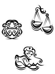 Aquarius, libra and gemini zodiacal symbols