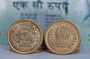 Close up of Indian Coin 5 rupees isolated copy space