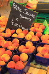 Peaches on a market