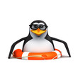 3d Penguin in glasses floats in a lifering