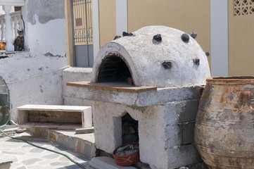 Bread oven/barbeque in Fira the Capital of Santorini Greece