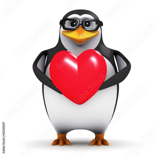 3d Penguin in glasses holds a Valentines heart
