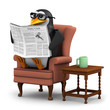 3d Penguin in glasses sits in a chair reading
