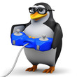 3d Penguin in glasses playing a console game
