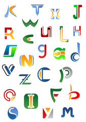 Alphabet letters and icons from A to Z