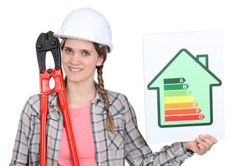 A female construction worker promoting energy savings.