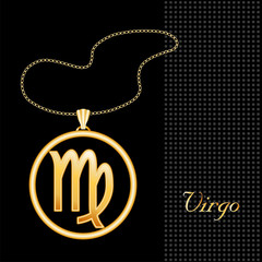 Virgo Necklace and Chain, gold silhouette astrology symbol