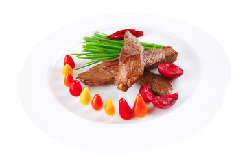 roast beef meat on white plate