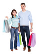Beautiful young couple with shopping bags