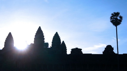 Silhouette of Angkor Wat during Sunrise.