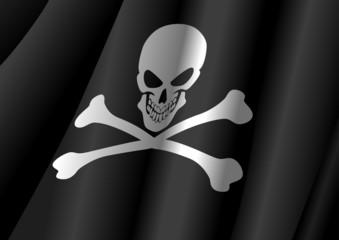 Vector illustration of a flag of Jolly Roger symbol