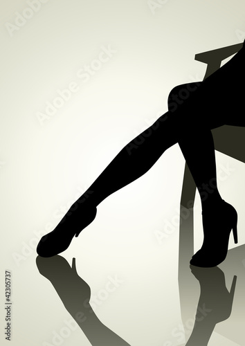 Silhouette illustration of woman legs