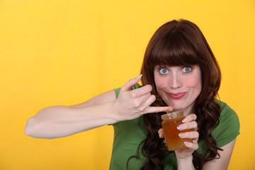 a woman eating jam