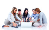 Group of people with laptop computer.
