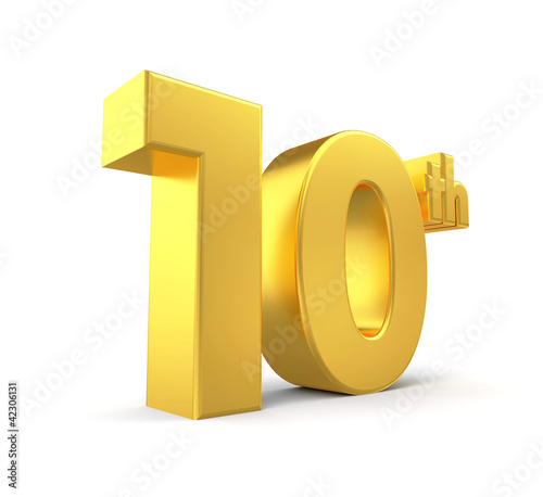 3d golden anniversary - 10th, isolated on white background