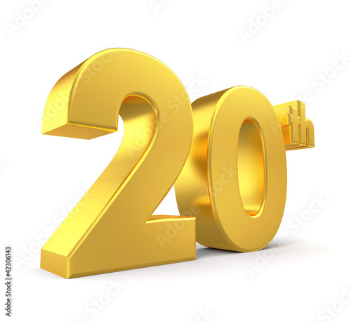 3d golden anniversary - 20th, isolated on white background