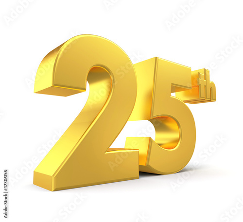 3d golden anniversary - 25th, isolated on white background