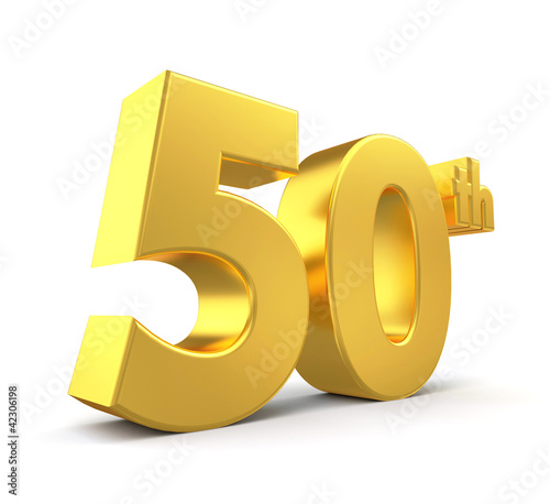 3d golden anniversary - 50th, isolated on white background