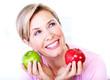 Senior woman with apple. Diet.