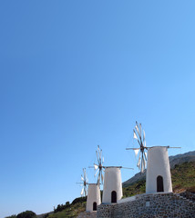 Greece, Crete, Windmills on the  east of island on the top of a