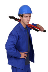 Man with bolt cutters