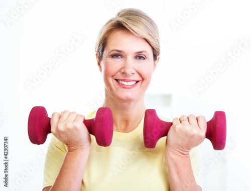Senior woman doing fitness.