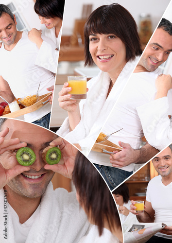 mosaic of pictures of a couple having breakfast