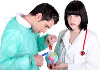 Medics operating on the world