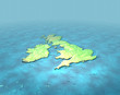 3D map of British isles with contours on sea
