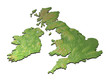 3D map of British isles with contours on white