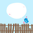 Blue Bird With Gift On Fence Speech Bubble Blue