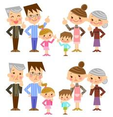 家族 三世代 表情