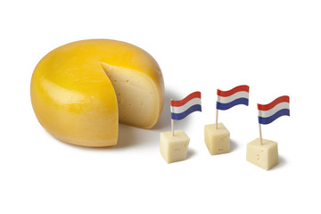 Gouda cheese with dutch flags
