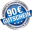 """Button Banner """"90 € Gutschein"""" blau/silber"""