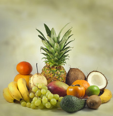 Fruits exotic and tropical abstract still life