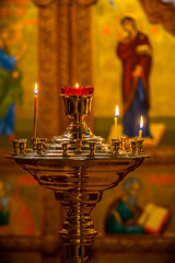 The candles in Russian orthodox Church