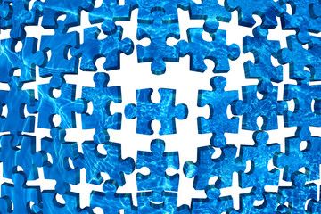 Water puzzle abstract background blue