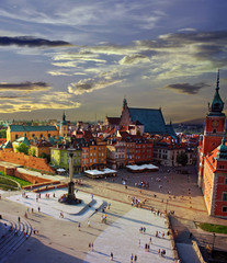 Warsaw castle square and sunset
