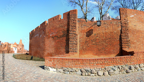 Wall of Warsaw castle panorama background