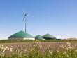 Leinwanddruck Bild - Biogas Anlage und Wind Turbine