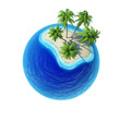 Tropical island with palms and empty ocean isolated
