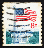 Postage stamp USA 1968 Flag and White House