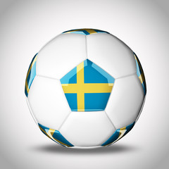 3d rendering of a soccer ball with national flags. Sweden