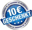 "Button Banner ""10 € geschenkt"" blau/silber"