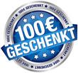 "Button Banner ""100 € geschenkt"" blau/silber"