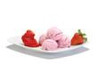 gelato alla fragola su piatto bianco