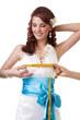 Measuring waist of a bride