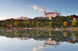 Bratislava castle with reflection in river Danube - Slovakia