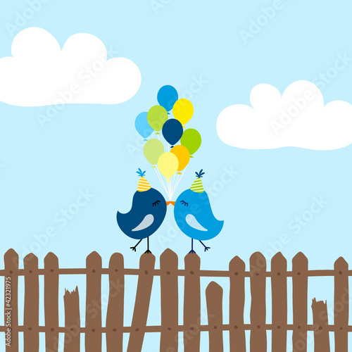 2 Blue Birds 9 Ballons On Fence Blue